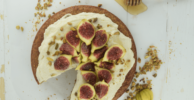 Almond Meal Cake with Whipped Mascarpone + Figs