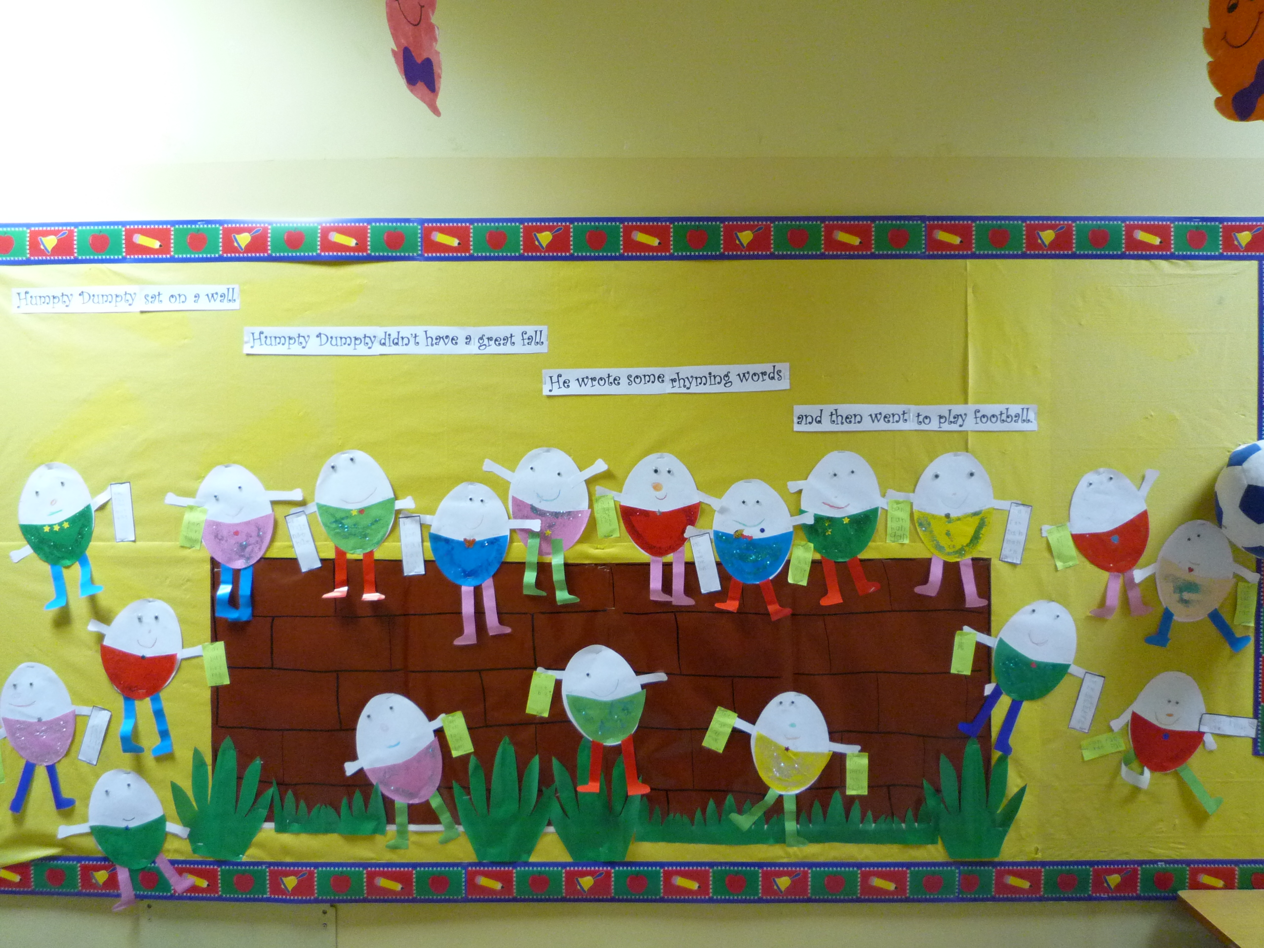 Humpty Dumpty Bulletin Board Rhyming Words Word Family