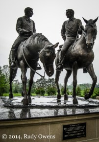 """The statue calls Joseph Smith a """"prophet,"""" and also shows brother Hyrum Smith. Both were killed by a mob in nearby Carthage, Ill., in 1844, and this statue celebrates their final ride there."""