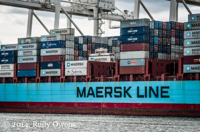 Cranes Unload Cargo of the Axel Maerks