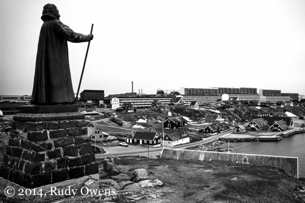 A statue of Danish Lutheran missionary Hans Egede overlooks Nuuk's harbor (1998).