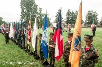 The faces of the young boys who likely will be called to serve once they join the U.S. Armed Forces. The group held flags of American states and territories.