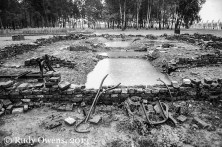 One of the Birkenau gas chambers and crematoria, where prisoners were gassed and burned upon arriving to the camp, was left as the Soviet Army found it when it was liberated in January 1945.