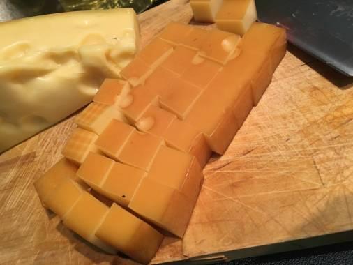 Jarlsberg Smoked cheese cut into cubes