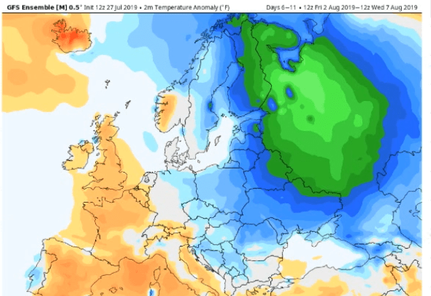 """media ignore vast summer cold across northern hemisphere southern usa russia see record lows in july 1 - Media Ignore Vast Summer Cold Across Northern Hemisphere; Southern USA, Russia See """"Record Lows"""" In July"""