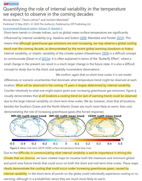 most of the globe could experience no warming for 30 years due to temperature driving internal variability - 'Most Of The Globe' Could Experience 'No Warming' For 30 Years Due To Temperature-Driving Internal Variability
