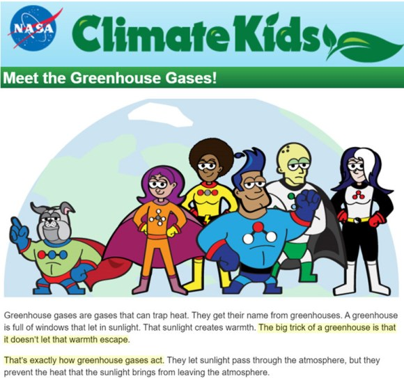 nasa pushes propaganda for kids casts greenhouse gases as superheroes that turn into tiny heaters - NASA Pushes Propaganda For Kids: Casts Greenhouse Gases As Superheroes That 'Turn Into Tiny Heaters'