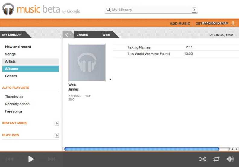 Google Music Beta Player