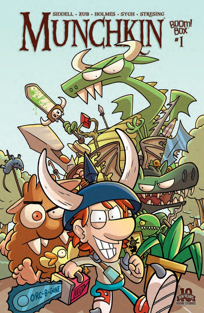 Knock down the door. Loot the treasure. Stab Your Buddy. Munchkin #1 is here!