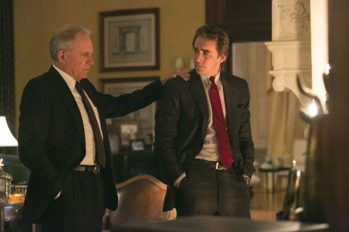 "John Getz as Joe Sr., Lee Pace as Joe MacMillan - Halt and Catch Fire _ Season 1, Episode 8 ""The 214s"" - Photo Credit: Quantrell Colbert/AMC"