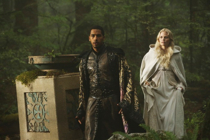 "ONCE UPON A TIME - ""Nimue"" - In Camelot, Merlin spearheads a mission to reunite the dagger with Excalibur so he can use the weapon to save Emma from the darkness threatening her soul. With Zelena in tow, Hook, Mary Margaret, David, Regina and Robin steal into Arthur's castle to take the broken sword from the maniacal king. Meanwhile, Merlin brings Emma along on a journey to confront his ancient nemesis and retrieve the sacred spark he'll need to reforge Excalibur. Both parties are tested, but one suffers a blow that could derail the entire operation. In a flashback to long before the Age of Arthur, young Merlin finds purpose after he is blessed with magic and immortality, but when he falls in love with a young refugee named Nimue, everything changes for Merlin, as their romance starts a chain of events that touches every one of our present day heroes, on ""Once Upon a Time,"" SUNDAY, NOVEMBER 8 (8:00-9:00 p.m., ET) on the ABC Television Network. (ABC/Jack Rowand) ELLIOT KNIGHT, JENNIFER MORRISON"