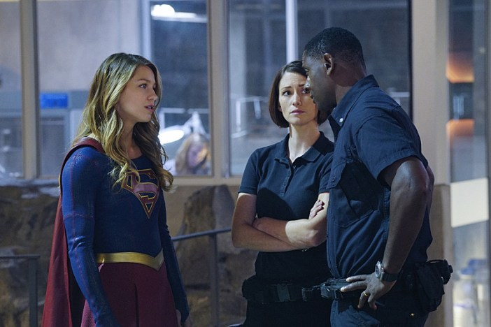 """Hostile Takeover"" -- Kara goes toe-to-toe with Astra when her aunt challenges Kara's beliefs about her mother, on SUPERGIRL, Monday, Dec. 14 (8:00-9:00 PM, ET/PT) on the CBS Television Network. Pictured left to right: Melissa Benoist, Chyler Leigh and David Harewood Photo: Monty Brinton/CBS ©2015 CBS Broadcasting, Inc. All Rights Reserved"