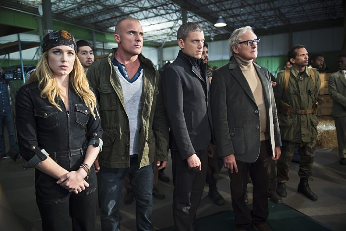 "DC's Legends of Tomorrow -- ""Pilot, Part 2"" -- Image LGN102_20150917_0246b.jpg -- Pictured (L-R): Caity Lotz as Sara Lance/White Canary, Dominic Purcell as Mick Rory/Heat Wave, Wentworth Miller as Leonard Snart/Captain Cold and Victor Garber as Professor Martin Stein -- Photo: Diyah Perah/The CW -- © 2015 The CW Network, LLC. All Rights Reserved."