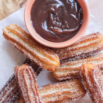 Churros with Chocolate Peanut Butter Dipping Sauce | What Charlotte Baked