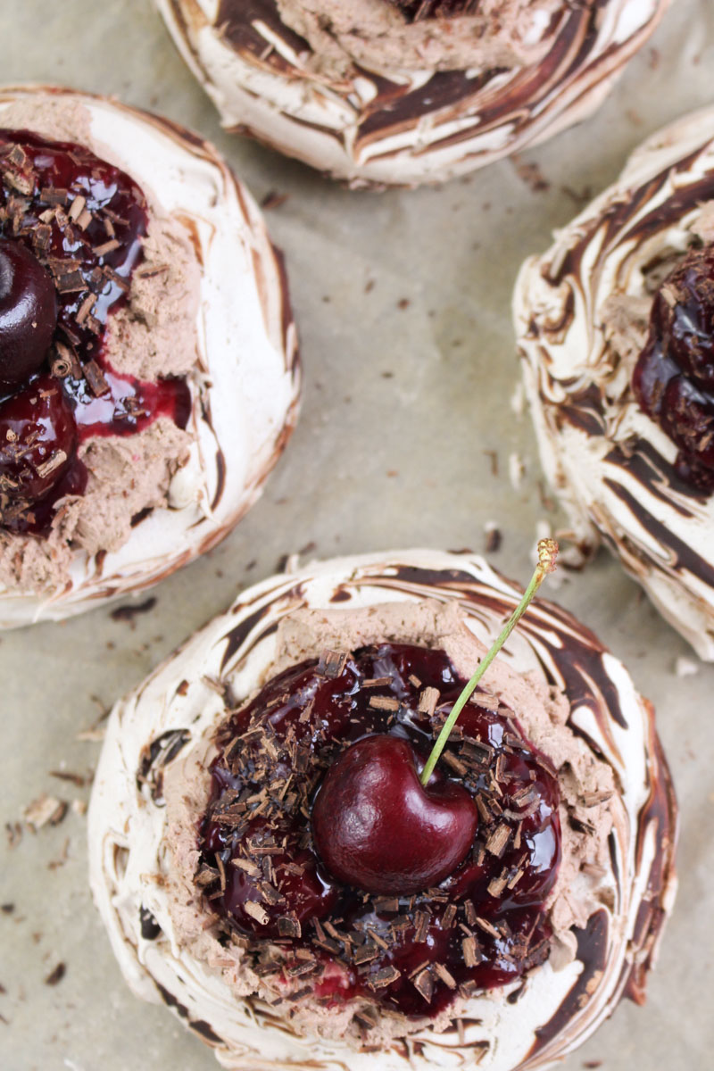 Mini Chocolate Cherry Pavlovas | What Charlotte Baked