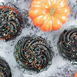 Marble Halloween Cupcakes (with Black Frosting)