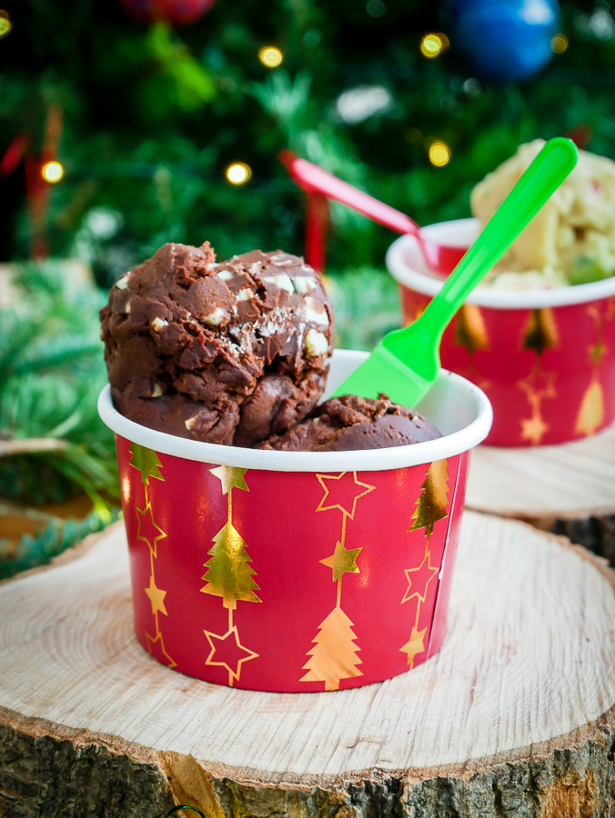 Raw Cookie Dough: 3 Festive Ways (Egg-Free)   What Charlotte Baked #cookiedough #christmas #eggfree #baking