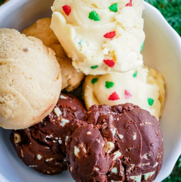 Raw Cookie Dough: 3 Festive Ways (Egg-Free) | What Charlotte Baked #cookiedough #christmas #eggfree #baking