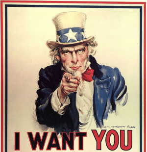 'Uncle Sam Wants You' by James Montgomery Flagg - Library of Congress. Licensed under Public Domain via Wikimedia Commons
