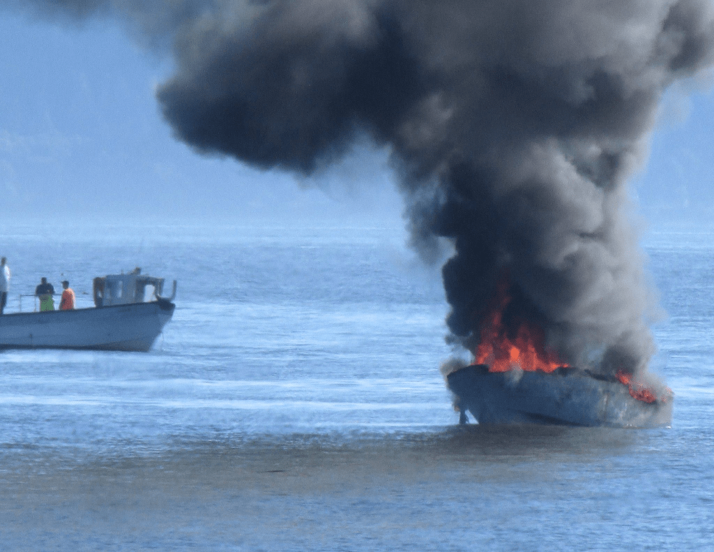 fishing vessel fire off west beach 2 - photo dinah mcabee