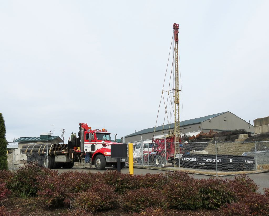 workers drill COF's 3rd water well in the PW shop yard 2017-04-04
