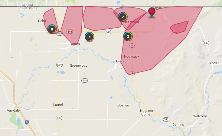power outages in northern whatcom county during freezing rain event 2017-12-29 1500