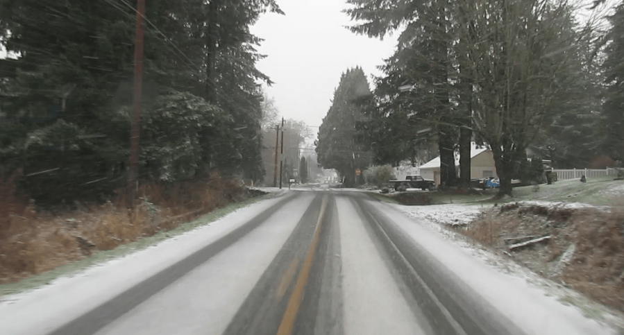 Brown Road approaching Vista Drive after a short snow event (December 19, 2017). Photo: My Ferndale News