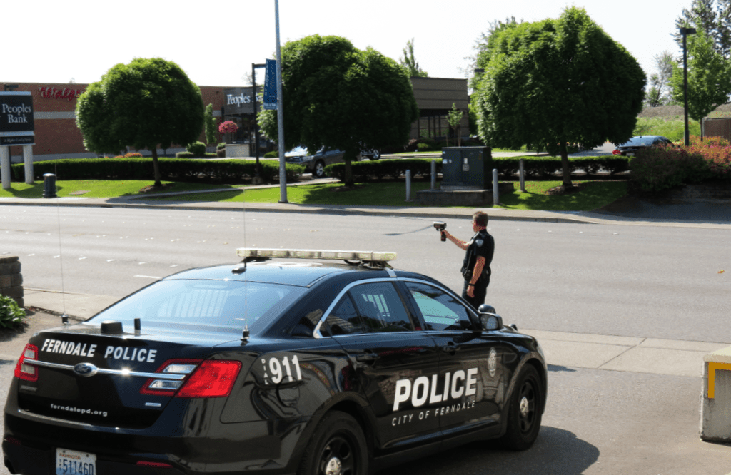 Ferndale Police Officer Mike Catrain monitors vehicle speeds in the 1900 block of Main Street (June 6, 2018). Photo: My Ferndale News