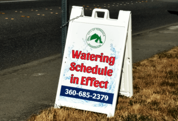 City of Ferndale roadside sign advising of irrigation restrictions (July 25, 2018). Photo: Whatcom News