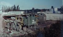 scene of train car derailment that left 1 caboose inside the Ferndale ConTel building 1979-09 photo Ron Willand