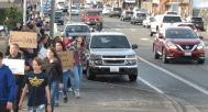 FHS students march along Main Street after bond fails to garner enough votes 2018-11-14