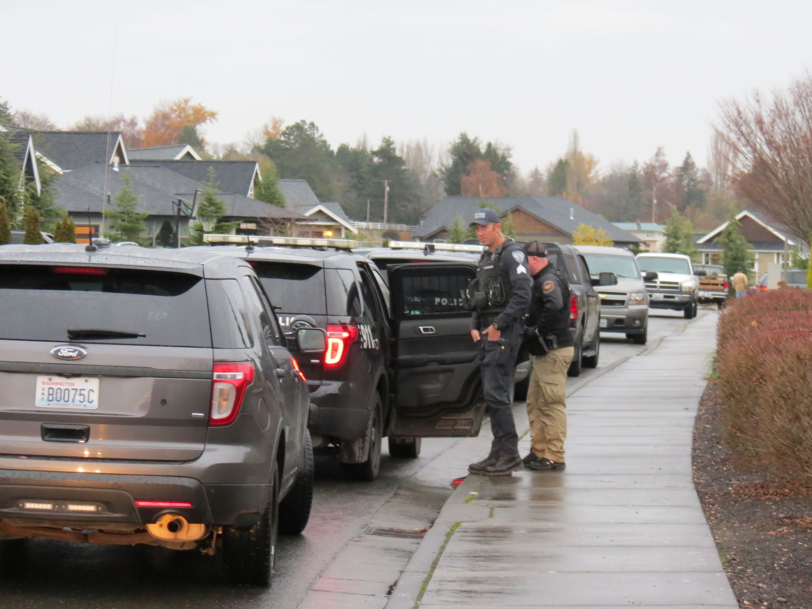 Ferndale Police talk with a subject captured in the Skyview neighborhood after a lengthy search.