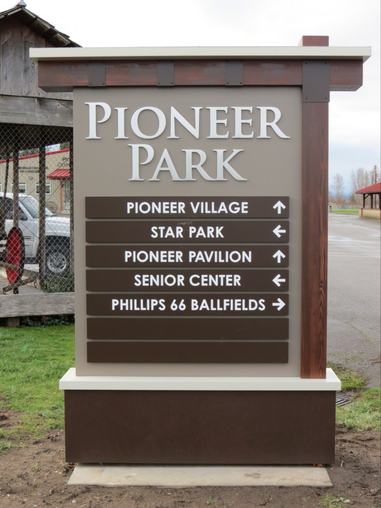 Monument wayfinding sign installed at Pioneer Park (January 10, 2019). Photo: My Ferndale News