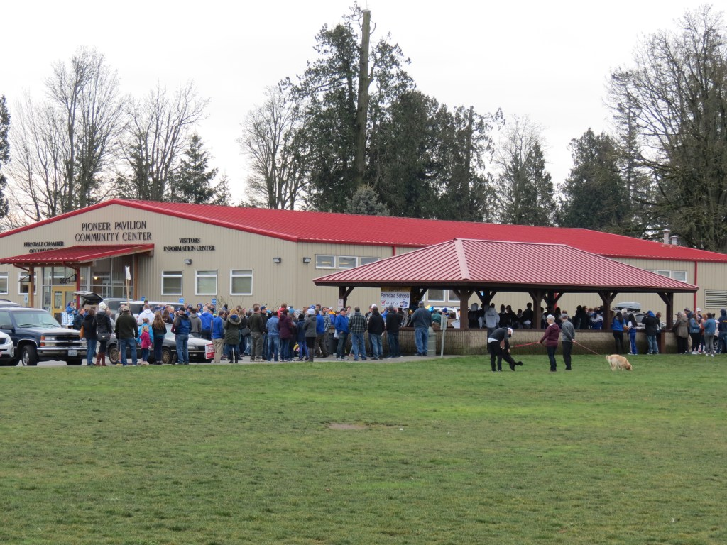 Supporters gather at a school bond proposal support rally at Pioneer Park (January 26, 2019). Photo: Whatcom News