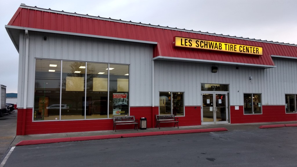 """The interior of the Ferndale Les Schwab Tires location gave an appearance from the street of being closed during a """"remodernization"""" project (February 27, 2019). Photo: My Ferndale News"""