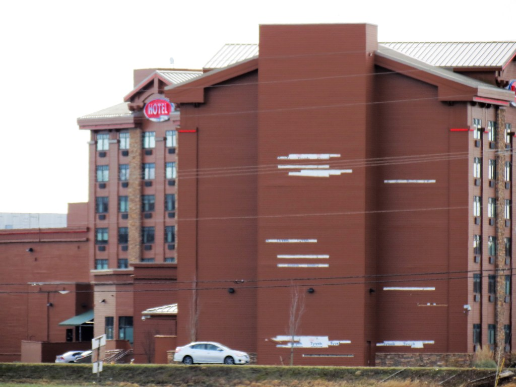 Siding damage on an outside wall of the Silver Reef Casino and Hotel after a windstorm with 70mph gusts (February 10, 2019). Photo: My Ferndale News