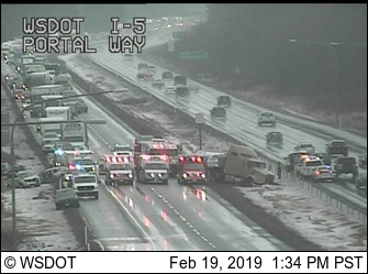 Crash scene at southbound I-5 north of the Portal Way interchange (February 19, 2019). Source: WSDOT traffic camera