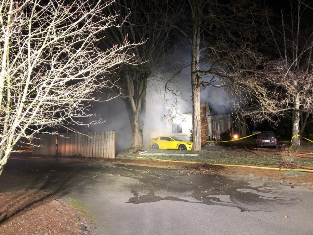 Scene of house fire on Cedar Street (February 9, 2019). Photo courtesy of Whatcom County Fire District 7