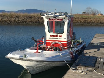 Whatcom County Fire District 17 Marine 56 unit docked at Sandy Point Marina. Photo courtesy of WCFD17.
