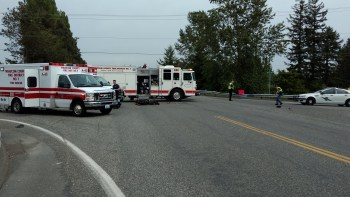 Scene of a moped vs car crash at the intersection of W Smith Road and Barrett Road (May 13, 2019). Photo: My Ferndale News