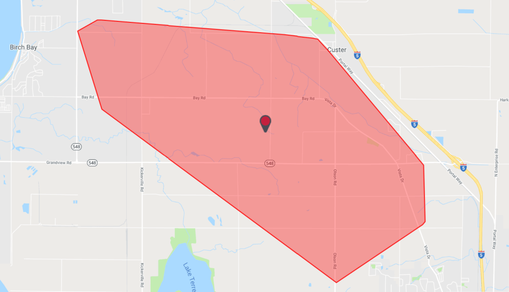 Map of area impacted by power outage in north Ferndale (June 23, 2019). Source: Puget Sound Energy