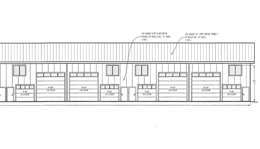 elevation drawing for Pioneer Flexspace sotrage condos