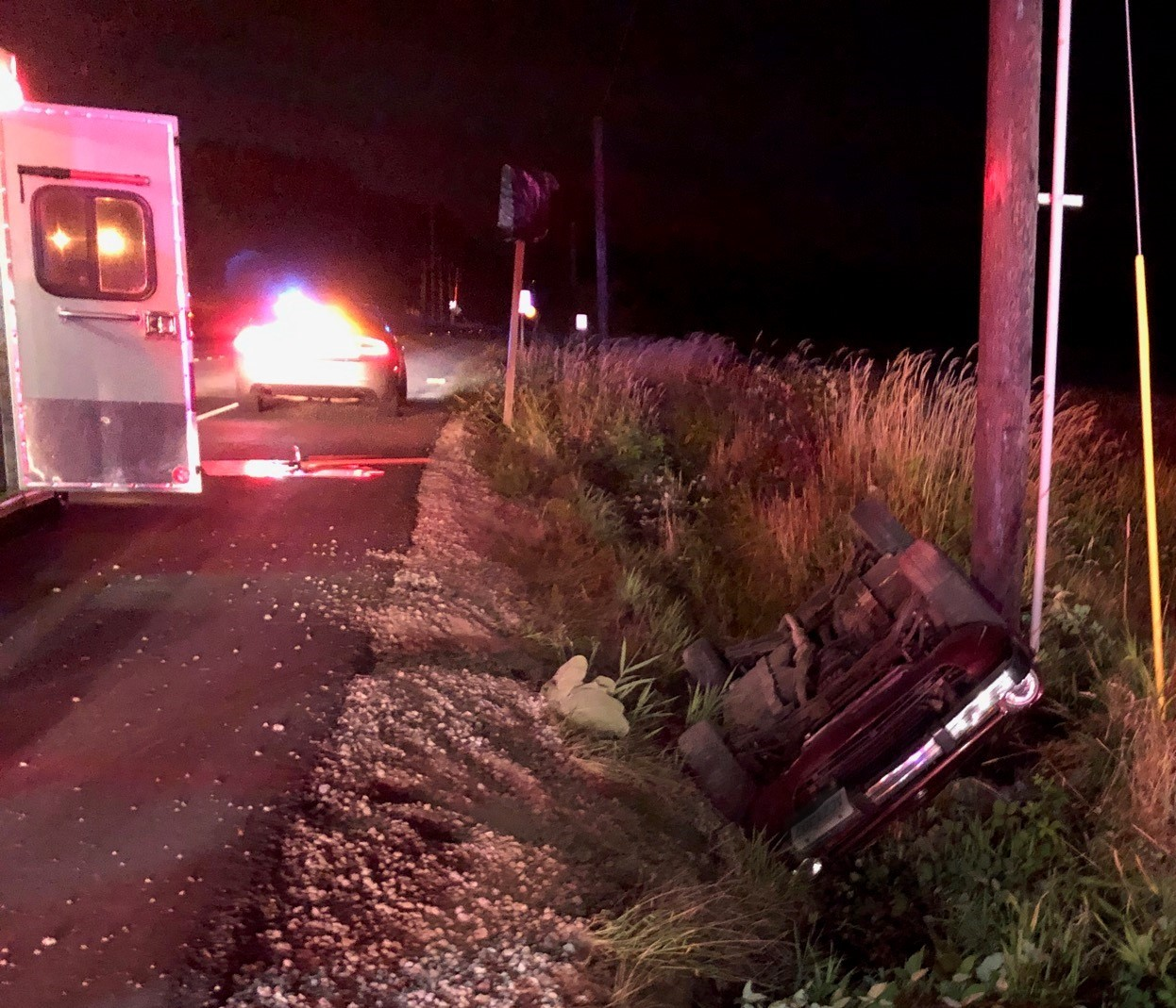 Scene of a single vehicle rollover west of the Kickerville and Grandview Roads roundabout (August 15, 2019). Photo courtesy of WCFD7