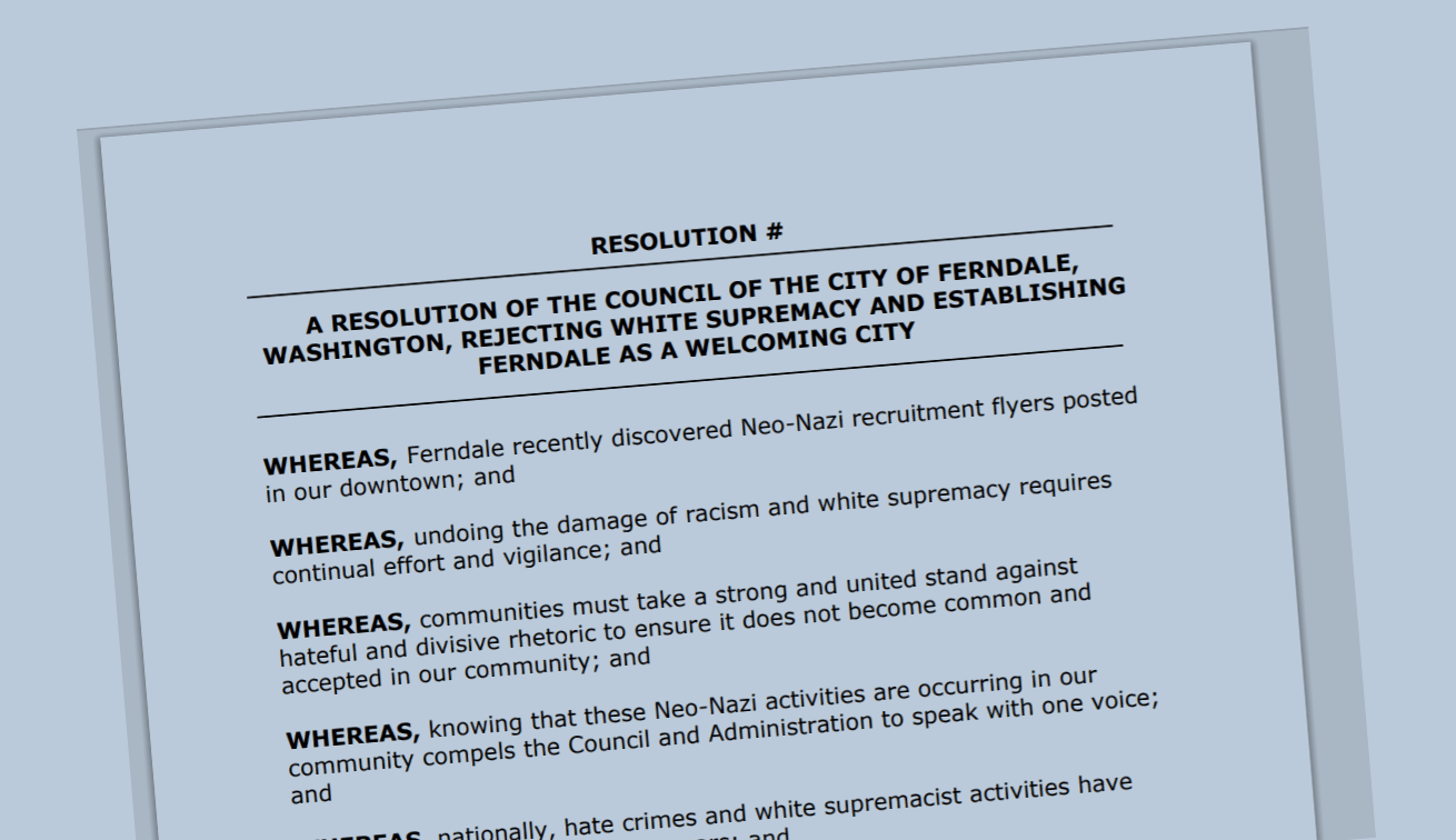 Draft of City of Ferndale resolution denouncing white supremacists.