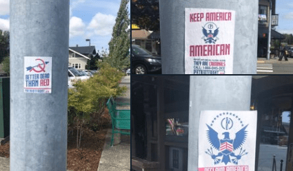 White supremacist group posters photographed in downtown Ferndale. Photo: Ryan Reilly via twitter