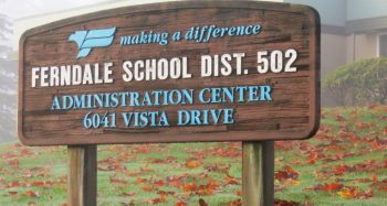 Ferndale School District sign outside the administration building on Vista Drive (October 22, 2016). Photo: My Ferndale News