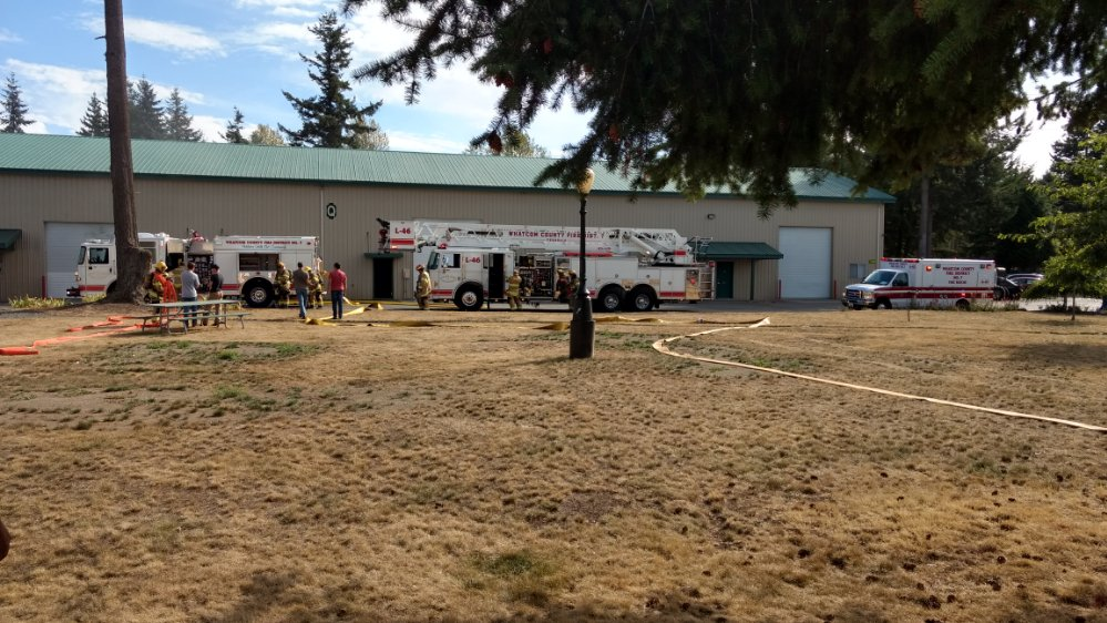 Firefighters on scene of a fire inside a building at the Grandview Business Park on Portal Way (September 5, 2019). Photo: My Ferndale News