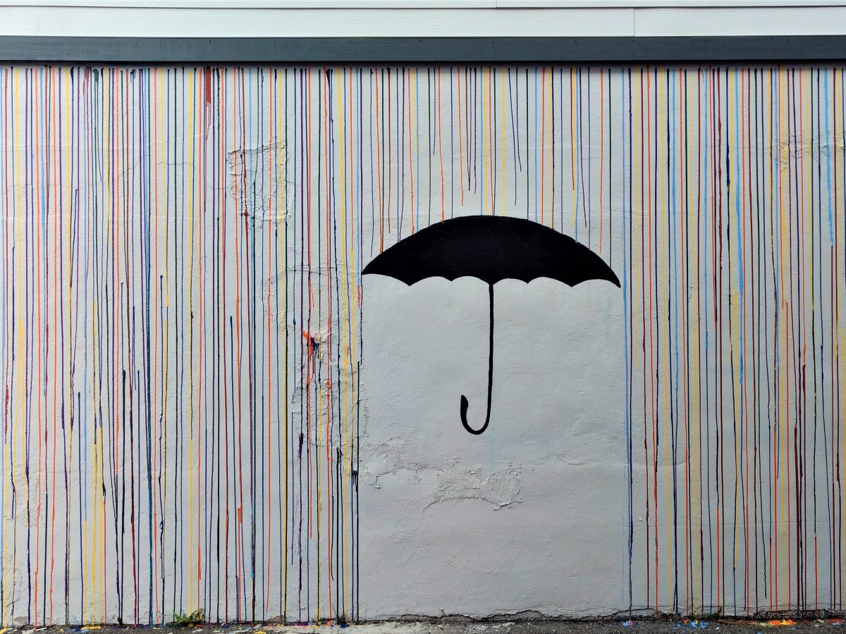A rain and umbrella mural serves as a photo destination in downtown Ferndale where friends and family can pose standing under the umbrella (September 12, 2019). Photo: My Ferndale News