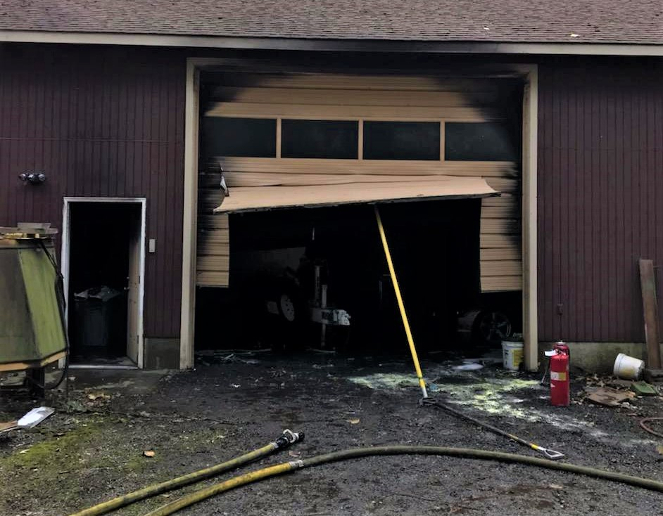 Exterior of out building on Neevel Road after a fire (October 12, 2019). Photo courtesy of WCFD7.