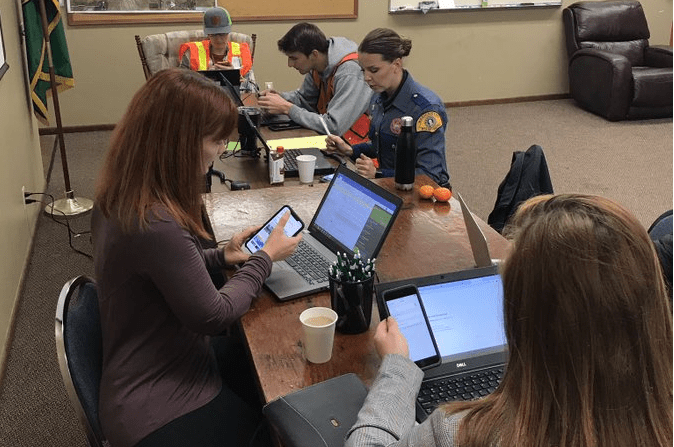 Public Information Officers from different agencies can be seen coordinating information during a joint agency drill (October 16, 2019). Photo: Riley Sweeney via twitter